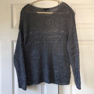Eileen Fisher gray wide knit sweater
